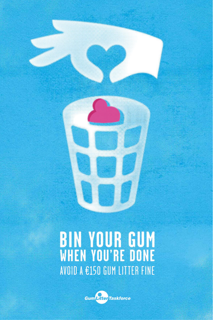 Bin your gum - blue poster